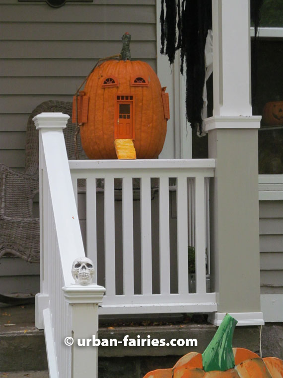 Fairy Door porch pumpkin, Ann Arvor fairy door. flying pumpkin cottage