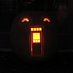Urban Fairies, fairy doors, fairy door, Pumpkin, Jack-o-lantern, Halloween, fairy pumpkin cottage