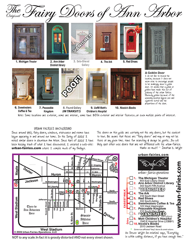 Urban Fairies fairy doors Locations TOUR MAP